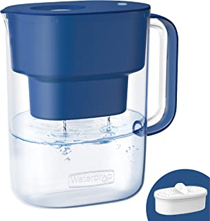 Waterdrop 10-Cup NSF Certified Water Filter Pitcher, Long-Lasting (200 gallons), 5X Times Lifetime Filtration Jug, Reduces Lead, Fluoride, Chlorine and More, BPA Free, Classic Blue, Model: WD-PT-07C