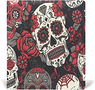 ATTX Halloween Sugar Skull Stretchable Leather Book Covers Standard Size for Student Hardcover Textbooks Fits Up to 9x11In for DIY Gift
