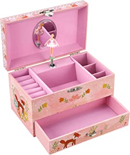 SONGMICS Kid's Musical Jewelry Box with Ballerina, Music Box, Cute Animal Motif with Foxes, You are My Sunshine Melody, Pink UJMC017PK