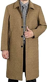 Men's Woollen Trench Coat Single Breasted Long Jacket Winter Overcoat