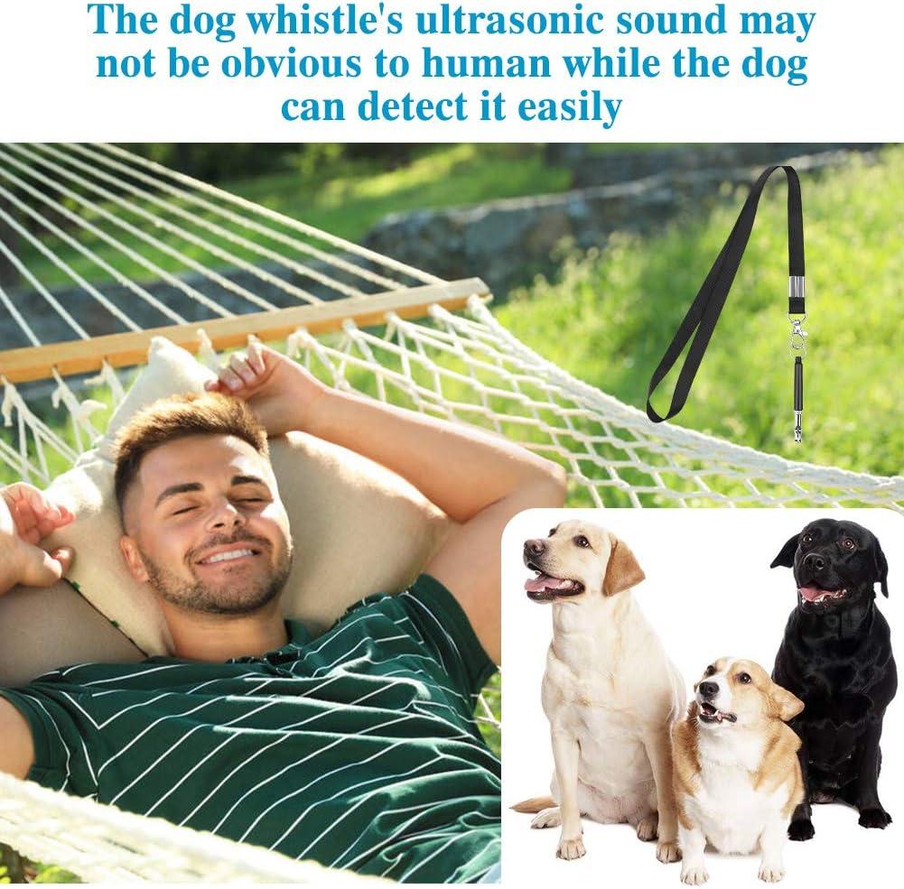 Silbato de Perro Antiladridos Ultrasonico Frecuencias Ajustables Formaci/ón Silbato Silbato para Perros con cord/ón 2PCS