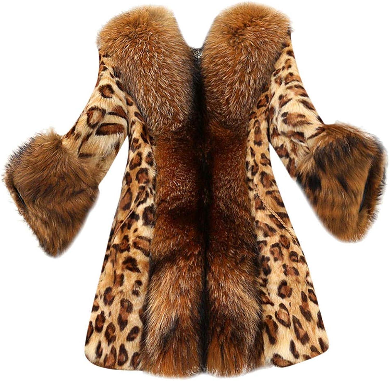 Letdown Women Faux Fur Collar Classic Leopard Printed Medium Long Winter Warm Coat Jacket