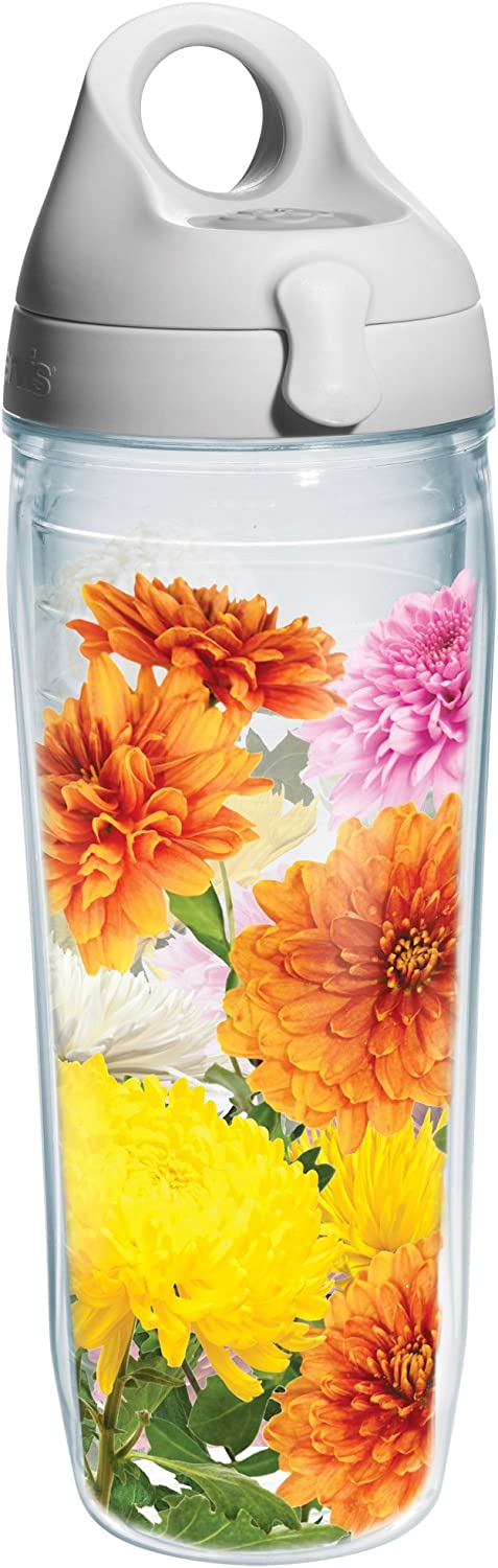 Tervis Chrysanthemums Wrap Water Bottle with Grey Lid, 24-Ounce, Garden Party