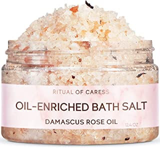 Soothing Bath Salt | Ritual of Caress | with Natural Damascus Rose & Peach Essential Oils | Romantic Bath Salts for Relaxa...