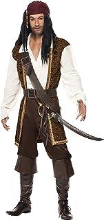 Smiffy'S 26224L Disfraz De Pirata De Alta Mar Con Top, Pantalones Cortos, Tahalí Cinturón Y Pañoleta Para La Cabeza, Marrón, L - Tamaño 42