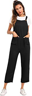 Women's Sleeveless Straps Pockets Plaid Culotte Jumpsuit Overalls