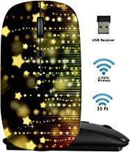 MSD Wireless Mouse 2.4G Travel Mice with USB Receiver, Noiseless and Silent Click with 1000 DPI for Notebook PC Laptop Computer MacBook Black Base Stars on Black Abstract Background with Bokeh Lights