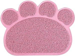 UEETEK Cat Litter Mat Non-Slip Pet Paw Shape Mat Pet Dog Cat Puppy Kitten Dish Bowl Food Water Placemat Mat 3040cm (Pink)