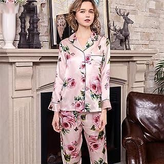 BUTTERFLYSILK Conjunto de Pijama de Seda 100 para Mujer Pijamas Largos con Estampado de Flores Damas 2 Piezas 19 Momme Seda de Morera Pura Ropa de Dormir Larga Ropa de Dormir Ropa de salón,Rosado,XXL