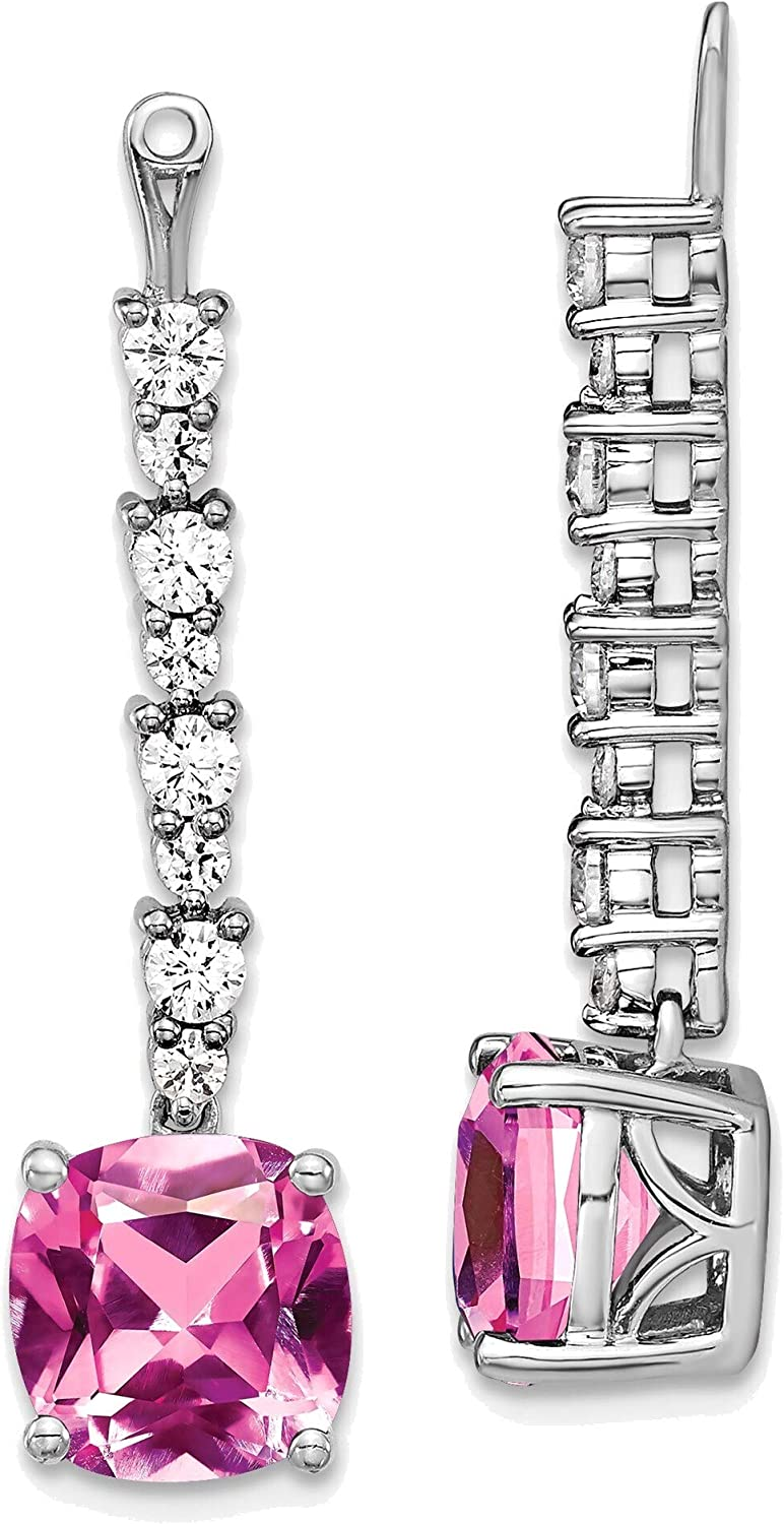 14kt White Gold Lab Grown Diamond & Created Pink Sapphire Earring Jackets