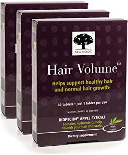 New Nordic Hair Volume w/Apple Extract, 30 Tablets (Pack of 3)