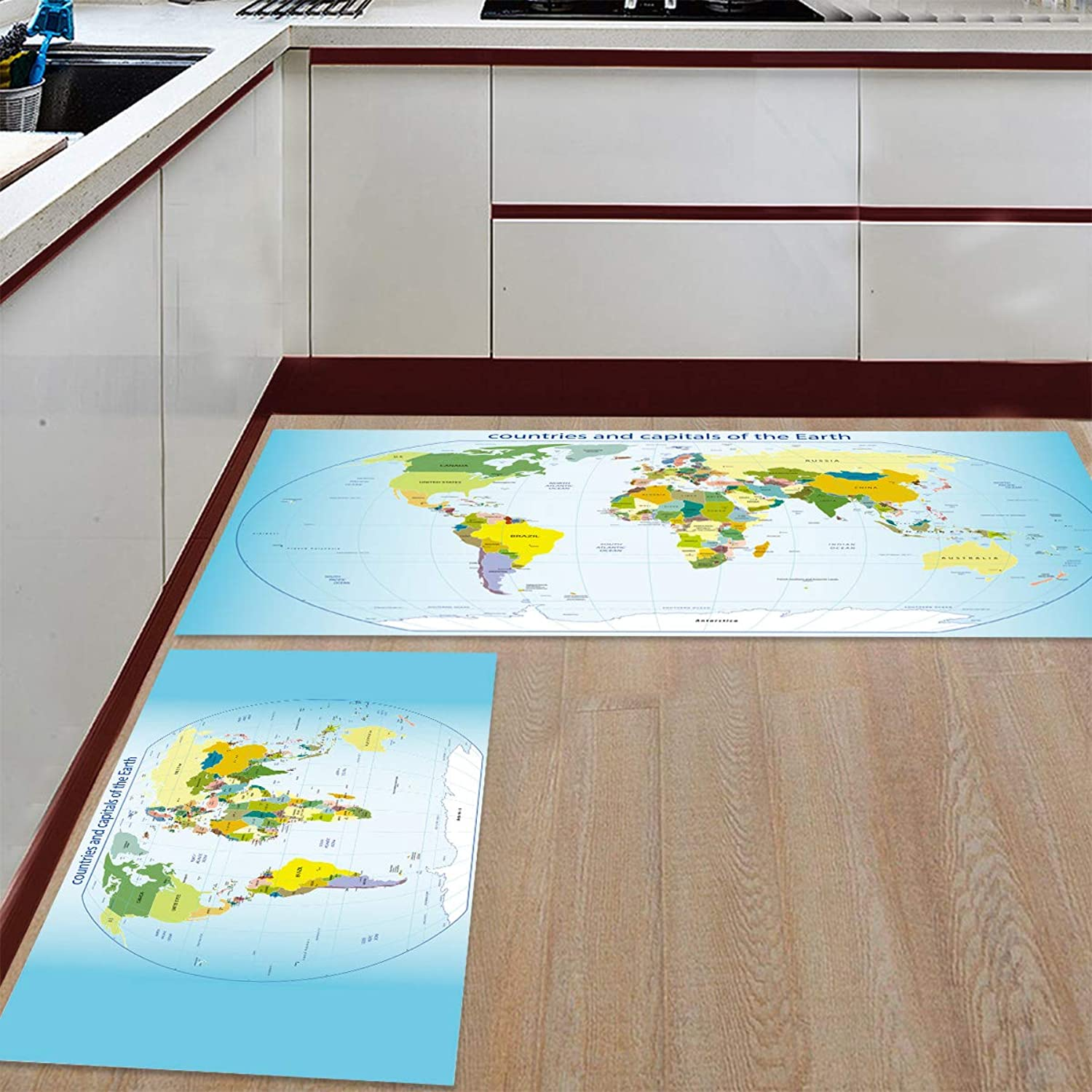 Kitchen Rugs Sets 2 Piece Floor Mats Countries and Capitals of The Earth Doormat Non-Slip Rubber Backing Area Rugs Washable Carpet Inside Door Mat Pad Sets (23.6  x 35.4 +23.6  x 70.9 )