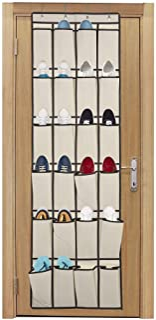 Over the Door Shoe Organizer, Laigoo Hanging Shoe organizer with 24 Large Fabric Pockets, with 4 Hooks Shoe Storage Rack O...