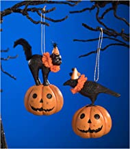 Bethany Lowe Set/2 Pumpkin Jack Black Cat Raven Vintage Style Halloween Tree Ornaments