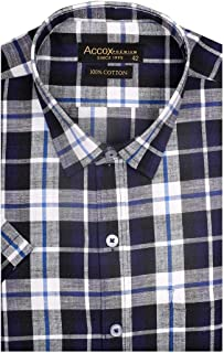 ACCOX Half Sleeves Formal Regular Fit Cotton Check Shirt for Men