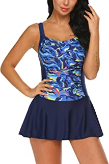 Swim Dress One Piece Bathing Suit Skirted Swimsuits for Women Ruched Retro Swimwear S-XXL