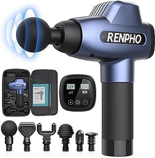 Renpho massagepistool, spiermassageapparaat met 20 snelheden en 6 massagekoppen, massageapparaat voor fitnessstudio, kanto...