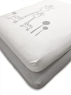 Crib Sheets Nursery Bedding Baby Bed Sheets Set 2 Pack Cotton Jersey Fitted Toddler Mattress Standard Newborn Gender Neutral Unisex for Infant Girl Boy Kids Registry (White Gray Grey Giraffe)