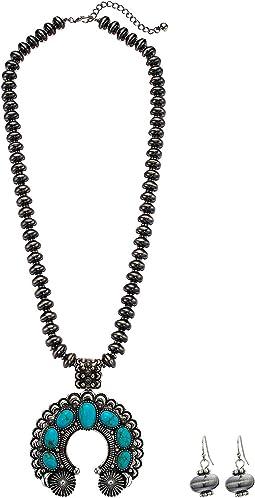 Squash Blossom Sliver Bead Necklace/Earrings Set
