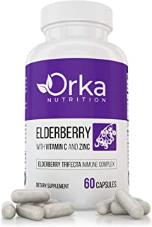 Black Elderberry Supplement Capsules for Adults - Boosts Immunity & Supports Gut Health - with Zinc & Vitam...