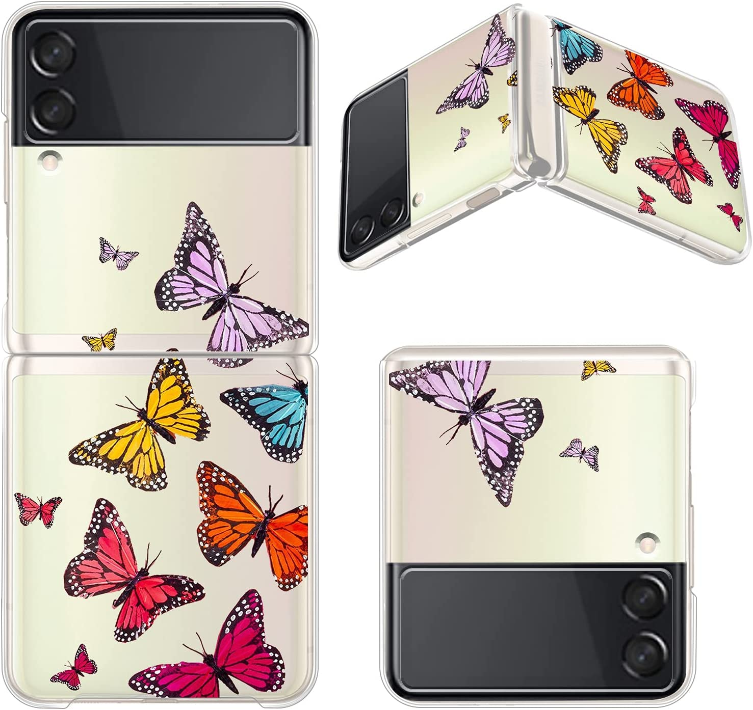 ZIYE Clear Case for Samsung Galaxy Z Flip 3 5G Case Elegant Colorful Butterfly Design Shockproof Hard PC Transparent Protective Phone Case for Women Girls Girly Samsung Galaxy Z Flip 3 Case