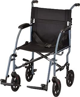 NOVA Ultra Lightweight Transport Chair, Weighs Only 18.75 lb, Compact for Travel, Blue