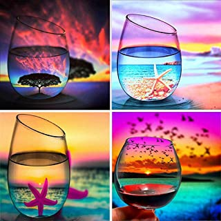 4Pack DIY 5D Diamond Painting Kits for Adults Kids Cup Set, Elekin Painting Cross Stitch Full Drill Diamond Embroidery Arts Craft -12x12 inch for Home Wall Decor Gift