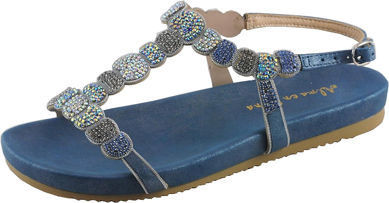 Alma en Pena Damen Sandaletten 891 Blau Oporto Stra Schmuck