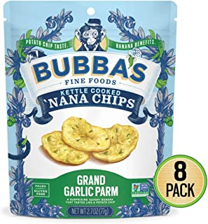 Bubba's Fine Foods Savory Vegan Banana Chips | Garlic Parm, 2.7oz (Pack of 8)