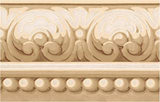 Prepasted Wallpaper Border - Victorian Scrolls Mustard Beige Wall Border Retro Design, Roll 15 ft. x 5 in.