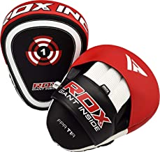 RDX Boxing Pads Focus Mitts | Curved Maya Hide Leather Hook and Jab Target Hand Pads | Great for MMA, Muay Thai, Kickboxing, Martial Arts, Karate Training | Padded Punching, Coaching Strike Shield