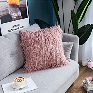 SIPEIEN Pack of 2 Decorative Lucury Series Plush Throw Pillow Case Mongolian Faux Fur Cushion Cover 18 x 18 inches 45 x 45 cm Purple Pink