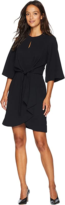 Petite Short Sleeve Crepe Shift Dress with Tie At Waistline