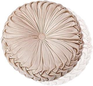 Coussin décoratif Home - 38 cm - Rond - En velours - Fabriqué à la main - Pour la maison, le canapé, la chaise, le lit, la...