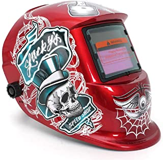 TAOTAO110 Welding Helmet,Red Standard Design Solar Welding Helmet Auto Darkening Electric Grinding Welding Face Mask Welder Cap Lens Cobwebs and Skull