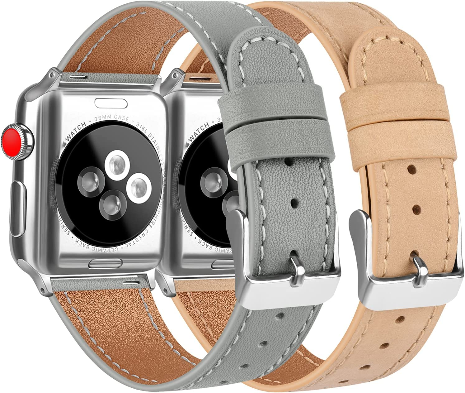 [2 Pack] Leather Bands Compatible with Apple Watch Bands 44mm 42mm for Women Men, Soft Leather Straps for iWatch SE & Series 6, Series 5, Series 4, Series 3, Series 2, Series 1, Grey & Apricot