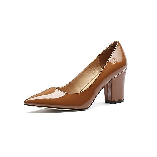 92dc45549c900 Patent Leather Brown Heels: Amazon.com
