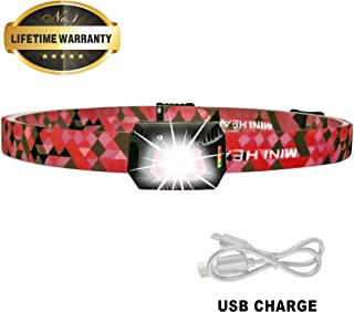 Ultra Lightweight Mini Hands Free Headlamp, Rechargeable Headlight with Motion Sensor, Multi Modes White LED Lamp, Adjustable Strap, IPX5 Waterproof, Bright Flashlight for Camping Running Hiking - Red