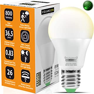 Motion Sensor Light Bulb Outdoor - Led Bulbs wiht Smart Highly Sensing Radar 360 Motion Activated Detector E26 Base Best f...