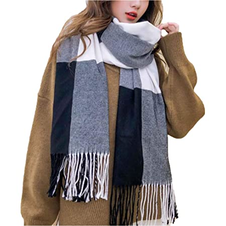 Wander Agio Women's Fashion Scarves Long Shawl Winter Thick Warm Knit Large Plaid Scarf