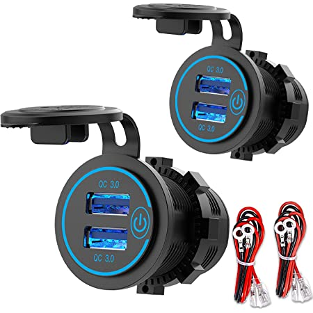 [2 Pack] 12V USB Outlet, Quick Charge 3.0 Dual USB Power Outlet with Touch Switch, Waterproof 12V/24V Fast Charge USB Charger Socket DIY Kit for Car Boat Marine Bus Truck Golf Cart RV Motorcycle, etc.
