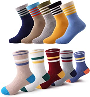 Kids Boys Socks 10 Pairs Baby Toddler Girls Cute Fashion Cotton Crew Dress Socks