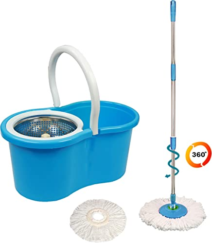 Eco Alpine 360 Degree Magic Spin Mop with Steel Spinner Plus 1 Refill Pack, Blue and White