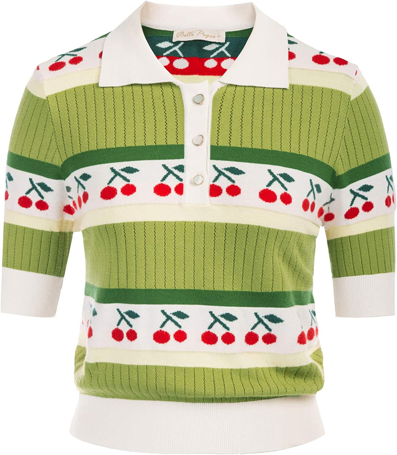 Belle Poque Women Vintage Embroidery Sweater Retro 1940s Contrast Collar Jumper Tops