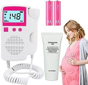 Doppler Fetal Monitor,Fetal Doppler Heartbeat Monitor Accurate Measurement Best Gift (Include Gel and Battery