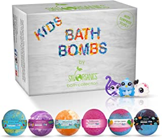 Sky Organics Kids Bath Bombs Gift Set with Surprise Toys Inside Fun Assorted Colored XL..