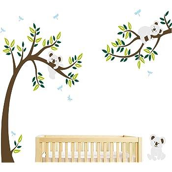 decalmile Stickers Muraux Koala et Arbre Autocollant Mural Libellule Ours Koala D/écoration Murale Chambre Enfant B/éb/é P/épini/ère