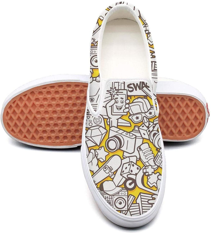 Sernfinjdr Women's Yellow Diamond Cartoon Casual Canvas Slip on shoes Casual Cycling Sneaker shoes