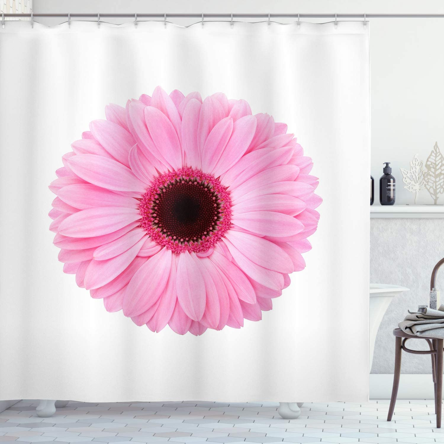 Ambesonne Pink And White Shower Curtain Fresh Gerber Daisy Garden Plants Of Spring Growth Single Flower Image Cloth Fabric Bathroom Decor Set With Hooks 70 Long Pale Pink Home Kitchen