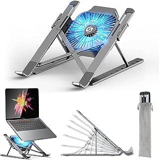 Laptop Ständer, Laptop Stand mit Abnehmbarem USB-Lüfter, Verstellbarer Aluminium-Laptophalter, Faltbarer Rutschfester Note...